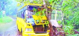 वाळपईत बस अपघातात २९ जखमीं